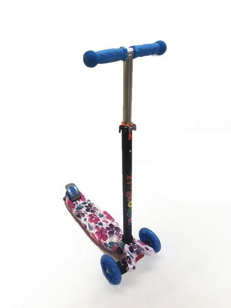 Детский самокат с регулируемой по высоте ручкой  цвет: Цветы (SS300674/HY-007S)