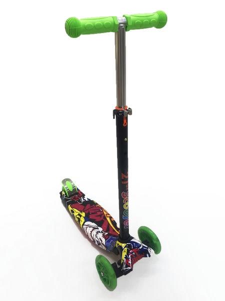 Детский самокат с регулируемой по высоте ручкой  цвет: Граффити (SS300674/HY-007S)