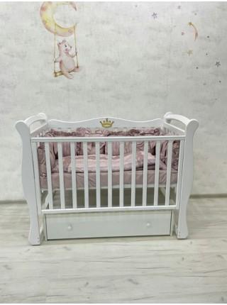 """Кровать детская деревянная с универсальным маятником + ящик + накладки-грызунки """" Venecia 1"""" цвет: белый"""