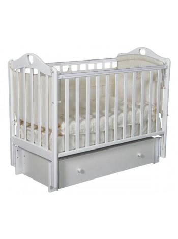 """Кровать детская деревянная с универсальным маятником + ящик + накладки-грызунки """" Grace 3"""" цвет: белый"""