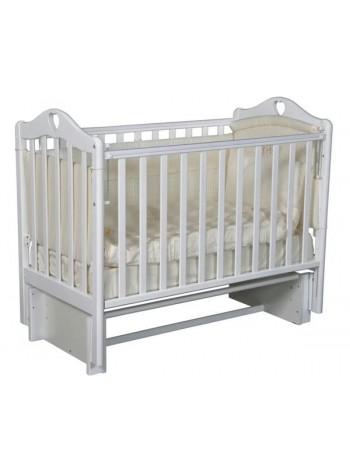 """Кровать детская деревянная с универсальным маятником + накладки-грызунки """" Grace 2"""" цвет: белый"""