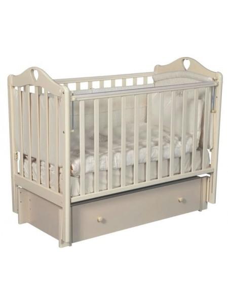 """Кровать детская деревянная с универсальным маятником + ящик + накладки-грызунки """" Grace 3"""" цвет: слоновая кость"""