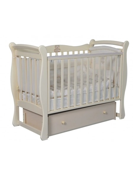 """Кровать детская деревянная с универсальным маятником + ящик + накладки-грызунки """" Venecia 1"""" цвет: слоновая кость"""