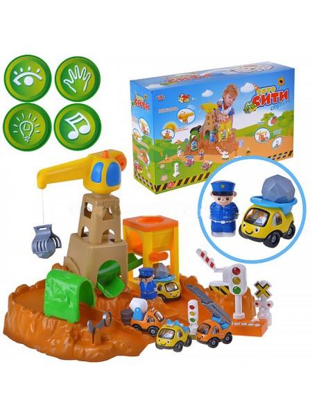 """Детский игровой набор гараж + 4 машинки """" Стройка. Авто Сити """" со светом и звуком Play Smart 7190"""