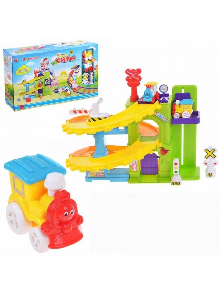 """Детский игровой набор паркинг - гараж """" Депо для паровозиков со светофором """" Play Smart со светом и звуком 7187"""