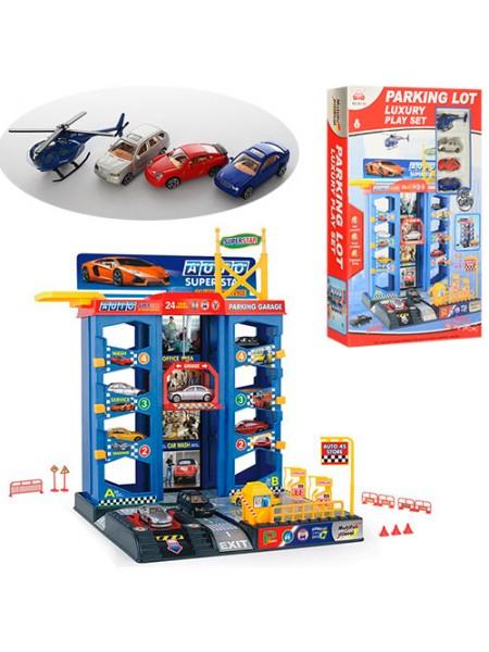 """Детский игровой набор гараж """" Парковка """" 4 этажа, лифт, 3 машинки + вертолет 92126"""