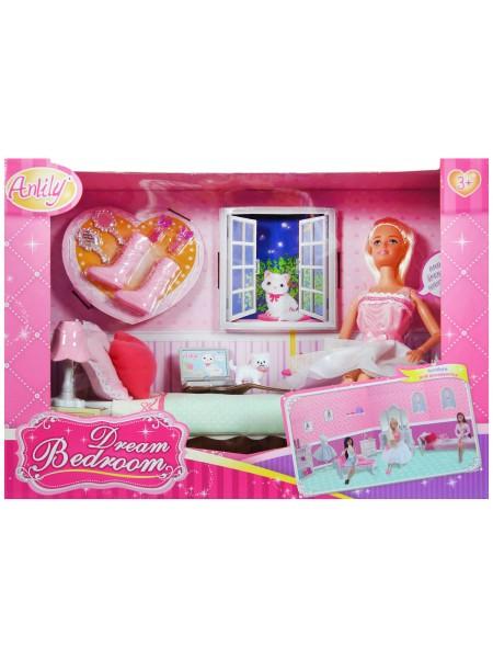 """Детский игровой набор Кукла шарнирная Anlily + мебель + аксессуары """" Спальня """" 99051"""
