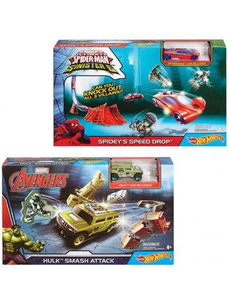 """Детский игровой набор """" Трек Хот Вилс Приключения супергероев серии Marvel """" Hot Wheels Mattel \ Маттел DKT27"""