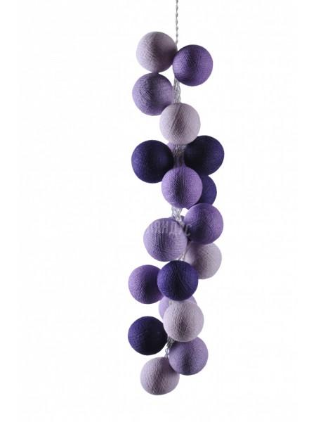 """Хлопковые шарики \ Тайская гирлянда из шариков на батарейках 20 LED 3 метра """" Лаванда """" 1788"""