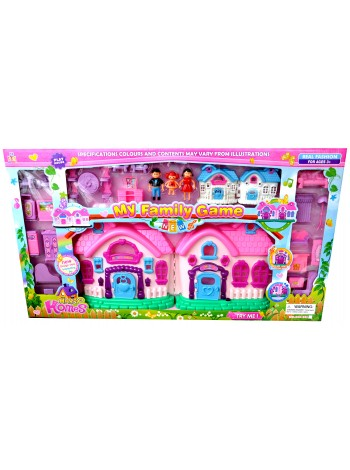 """Детский игровой складной пластиковый дом для кукол """" My Family game """" со светом и звуком 666-661"""