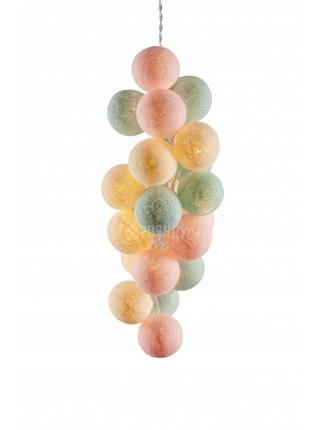 """Хлопковые шарики \ Тайская гирлянда из шариков на батарейках 20 LED 3 метра """" Бабл-гам """"1535"""