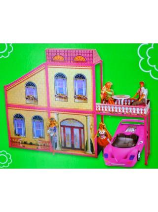 """Детский игровой двухэтажный дом для кукол 29 см """" Уютная квартирка """" с гаражом и машиной 80176"""