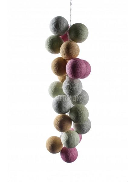 """Хлопковые шарики \ Тайская гирлянда из шариков на батарейках 20 LED 3 метра """" Кашмир """" 1719"""