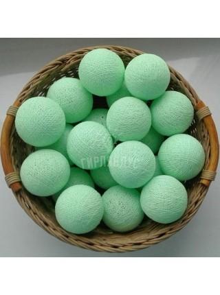 """Хлопковые шарики \ Тайская гирлянда из шариков на батарейках 20 LED 3 метра """" Ментол """" 1832"""