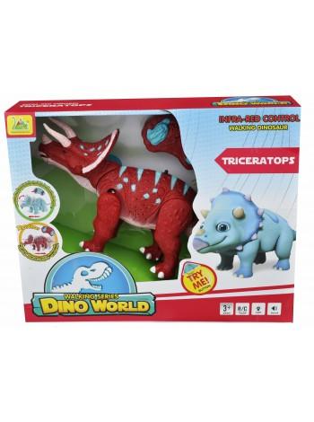 """Детская игрушка на радиоуправлении со звуковыми и световыми эффектами динозавр """" Трицераптор """" 6138А"""