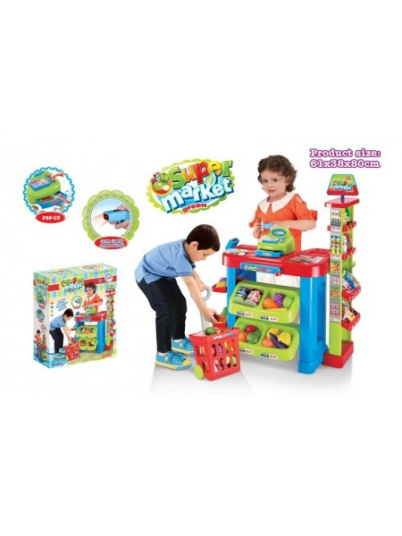 """Детский игровой набор играем в магазин """" супермаркет """" с кассой и тележкой 008-85"""