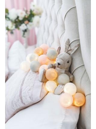 """Хлопковые шарики \ Тайская гирлянда из шариков на батарейках 20 LED 3 метра """" Перламутр """"1948"""