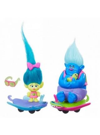 """Детский игровой набор фигурки + аксессуары """" Тролль на автомобиле \ Trolls """" Hasbro \ Хасбро B6558"""