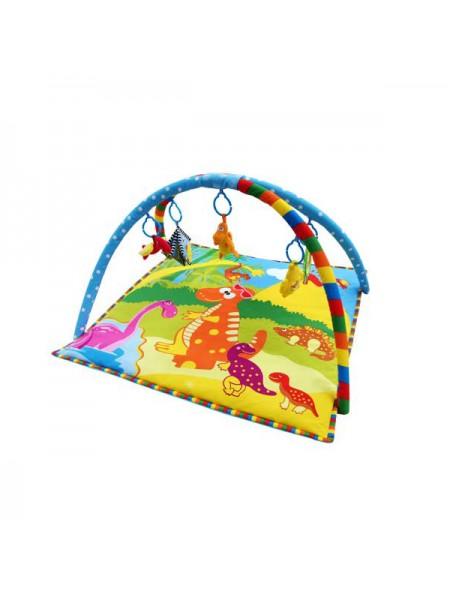 """Детский мягкий развивающий коврик с 2 дугами для игрушек 76*76*41 """" Планета динозавриков """" La-Di-Da 008"""