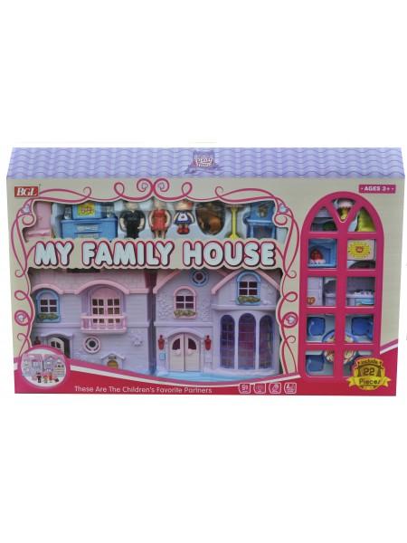 """Детский игровой набор """" Домик для кукол со звуковыми и световыми эффектами """" складывается в чемоданчик + мебель для кукол 686-4"""